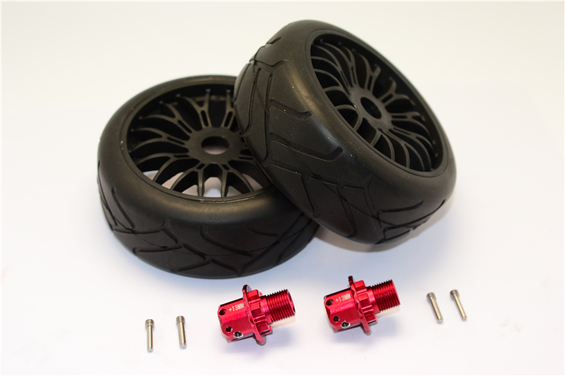 ARRMA TYPHON/SENTON BRUSHLESS RC CAR ALLOY 13MM HEX ADAPTERS+RUBBER RADIAL TIRES WITH PLASTIC WHEELS-SET ARR88910/2
