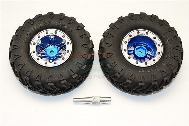 "1/10 AXIAL SCX10 6 POLES SIMULATION WHEELS WITH 1.9"" TIRE & HEX TOOL - 1PAIR - AW1906STYM"
