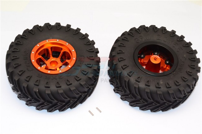 1/10 AXIAL SMT10 ALLOY 6 POLES BEADLOCK WITH 22MM HUB & NYLON WHEELS FRAME WITH 2.2' TIRE & FOAM INSERTS - AW2206P/2245