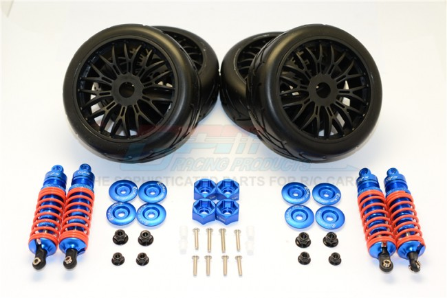 TRAXXAS SLASH 4X4 68086-21 ALLOY RALLY RACING DAMPERS AND TIRES - 4PC SET SLA087102FR