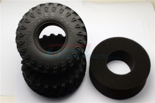 1/10 AXIAL SMT10 2.2' RUBBER RADIAL TIRE WITH FOAM INSERT 45DEG - TIRE22F/R45