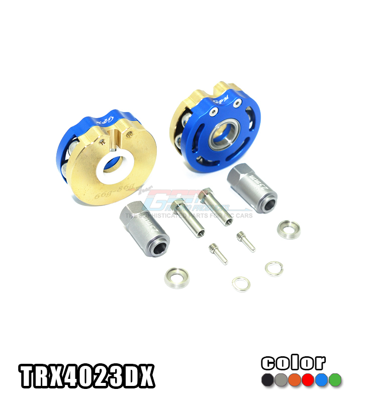 TRAXXAS TRX-4 82056-4 BRASS PENDULUM WHEEL KNUCKLE AXLE WEIGHT WITH ALLOY LID+23MM HEX ADAPTER -SET TRX4023DX