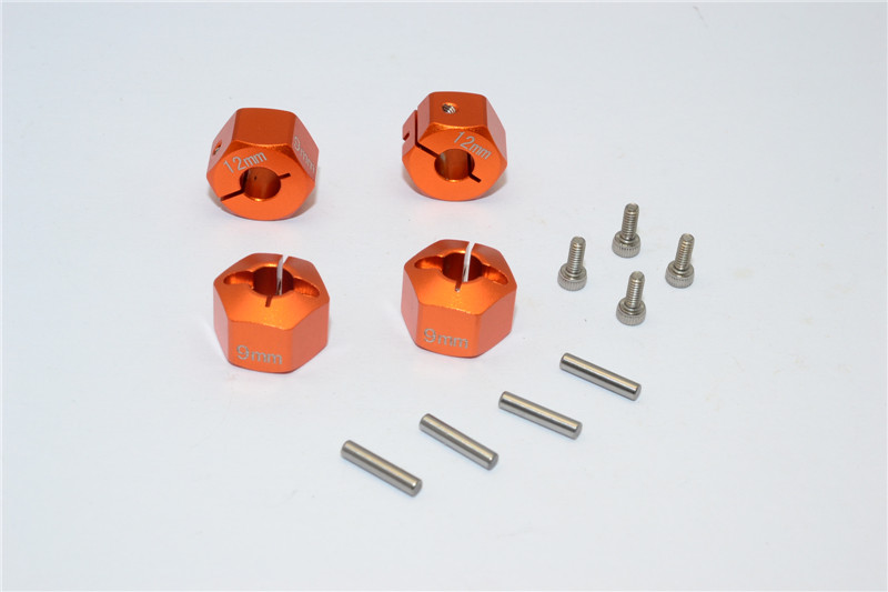 AXIAL SCX10 ALLOY HEX ADAPTER (12MMX9MM) - 4PCS SET FOR EXO, WRAITH