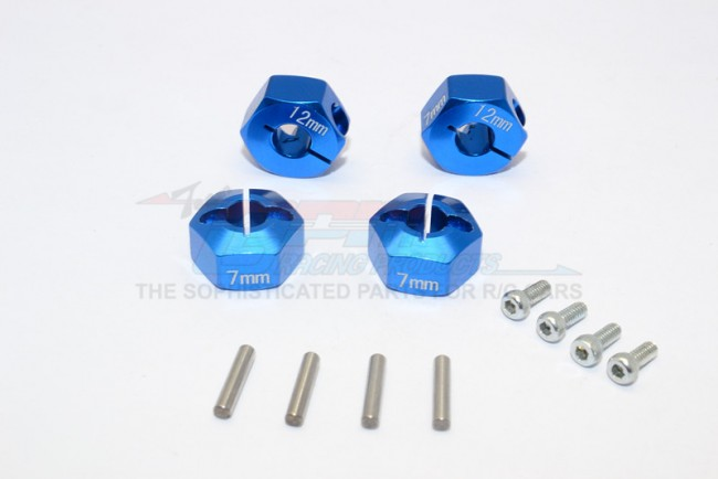 1/10 SCALE TRAXXAS 4WD FORD GT4-TEC 2.0 ALLOY HEX ADAPTERS 7MM THICK-SET GT010/12X7MM