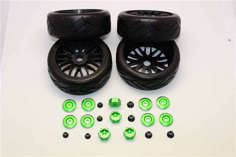 Traxxas Slash,Telluride,Craniac & Rustler RUBBER RADIAL TIRES WITH PLASTIC WHEELS WITH 12MM TO 17MM CONVERTER & 4MM & 5MM LOCK