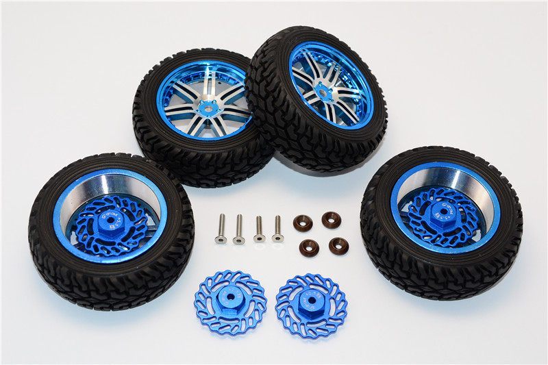 1/18 TRAXXAS LATRAX SST/TETON ALLOY FRONT +2.5MM, REAR +5.5MM BRAKE DISK + WHEELS & TIRES - SET TET2555FR10A